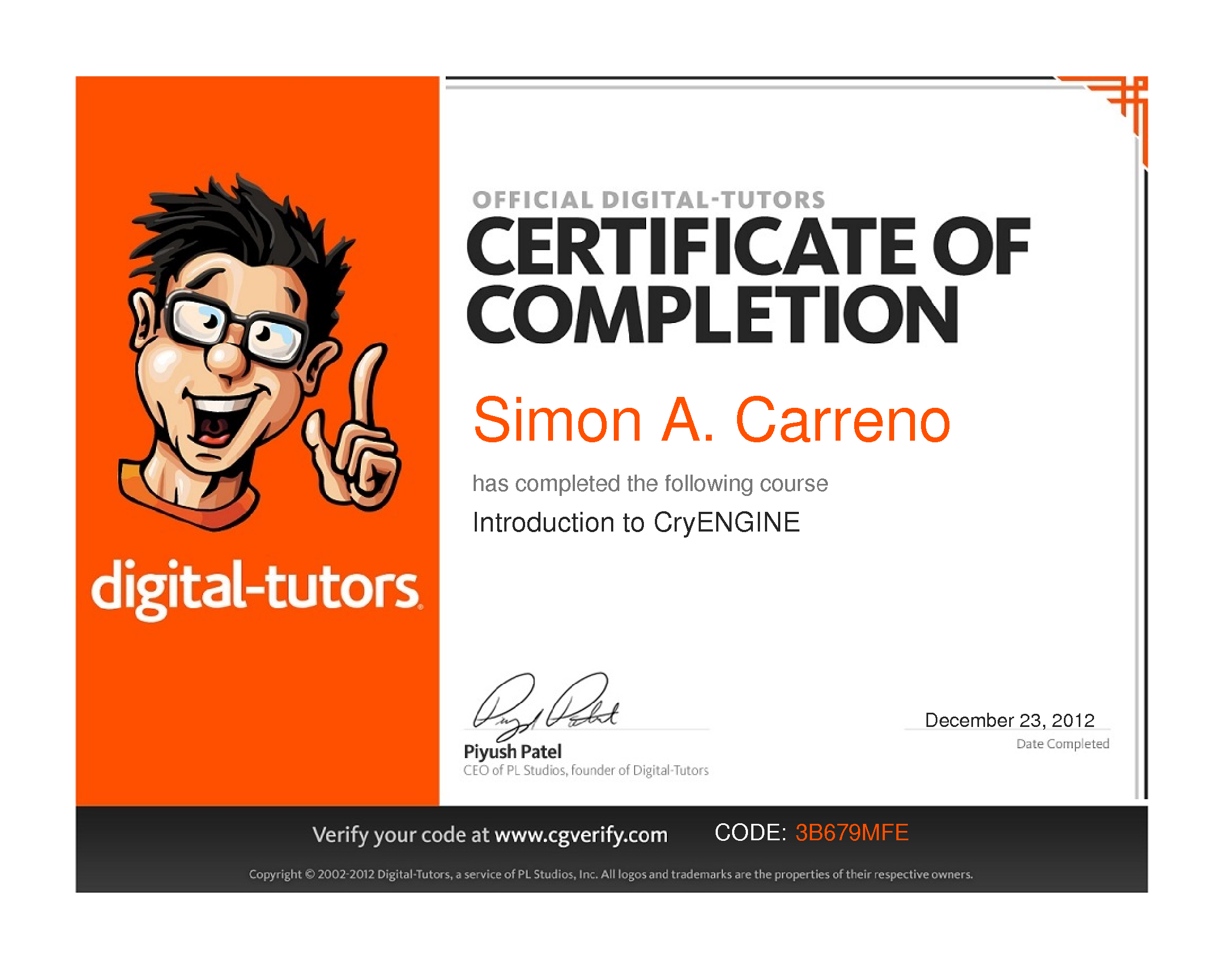 U201cIntroduction To CryEngineu201d Course By Digital Tutors · U201c ...  Resume Portfolio Holder